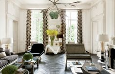 """Lauren Santo Domingo's Paris Duplex - The space, which is conveniently located upstairs from Lauren's in-laws, was designed by legendary decorator Francois Catroux. """"The architecture was beautiful; I didn't want to change that."""" Agreed! So, the designer set out to renovate the entire apartment while painstakingly preserving all architectural detail including the 18th-century plasterwork."""