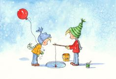 Shop TheExtentofSilence Whimsical Art and Prints Winter Illustration, Illustration Art, Red Balloon, Balloons, Painting For Kids, Art For Kids, Happy Art, Comic, Space Crafts