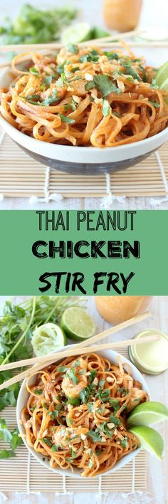 Homemade Thai peanut sauce is tossed with chicken and rice noodles in this quick and easy chicken stir fry recipe! Homemade Thai peanut sauce is tossed with chicken and rice noodles in this quick and easy chicken stir fry recipe! Rice Noodle Recipes, Stir Fry Recipes, Cooking Recipes, Peanut Chicken Stir Fry, Chicken Noodle Stir Fry, Thai Peanut Sauce Chicken, Peanut Sauce Stir Fry, Thai Stir Fry Sauce, Thai Peanut Salad
