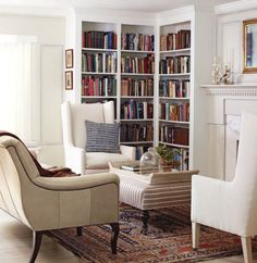 Corner bookcases, fireplace, light coloured comfy chairs <3