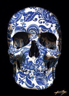 Skull painting by Gerrard King Skull Artwork, Skull Painting, Autumn Illustration, Skull Wallpaper, Skull Mask, Sugar Skull Art, Skulls And Roses, Mexican Skulls, Tatoo