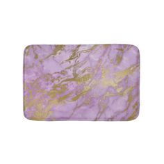 #Modern Lavender and Gold Marble Bathroom Mat - #giftideas #teens #giftidea #gifts #gift #teengifts