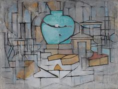 "guggenheim-art: "" Still Life with Gingerpot II by Piet Mondrian, Guggenheim Museum Size: cm Medium: Oil on canvas Solomon R. Guggenheim Museum, New York © 2007 Mondrian/Holtzman. Piet Mondrian, Oil On Canvas, Canvas Art, Cubism Art, Dutch Painters, Dutch Artists, Art Moderne, Art Abstrait, Abstract Expressionism"