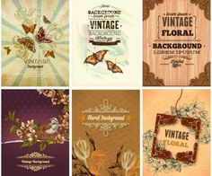 """Set of 4 vector vintage floral backgrounds with butterflies and flower illustrations for your nature related designs and decorations. Format: EPS or Ai stock vector clip art and illustrations. Free for download. Set name: """"Vintage floral backgrounds with butterflies"""" for…"""