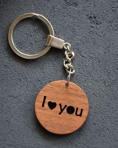 I love you Gift Wooden Key Chain Custom Personalized Keychain 5th Wood  Wedding Anniversary Favor Gift Girlfriend Boyfriend dcaadf3d53