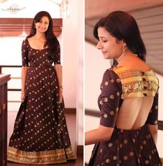 21 Kurti from old saree designs Long Gown Dress, Sari Dress, Anarkali Dress, Long Frock, Anarkali Gown, Saree Blouse, Indian Designer Outfits, Designer Dresses, Designer Wear
