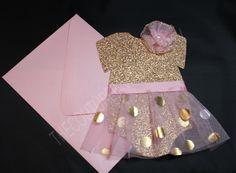 Tutu rosa y oro 1ra cumpleaños invitación  Invitación de tutú