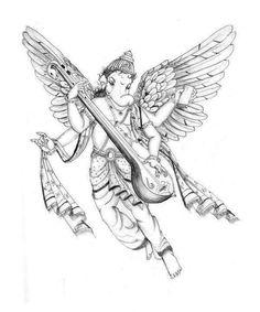 Lord Ganesha Paintings, Ganesha Art, Krishna Painting, Jai Ganesh, Pencil Art Drawings, Cute Drawings, Art Sketches, Saraswati Murti, Ganesha Sketch