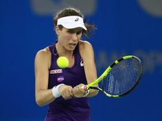 Johanna Konta Photos Photos - Johanna Konta of Great Britain returns a shot to Petra Kvitova of Czech Republic during their fifth round on Day 5 of the 2016 Dongfeng Motor Wuhan Open at the Optics Valley International Tennis Center on September 29, 2016 in Wuhan, China. - 2016 Wuhan Open - Day 5