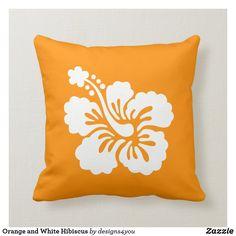 White Pillows, Throw Pillows, White Hibiscus, Silk Pillow, Custom Pillows, Party Hats, Art Pieces, Make It Yourself, Orange