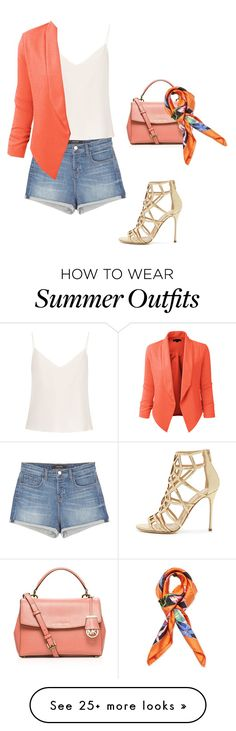 """""""Summer outfit jeans short"""" by olga-kim-b on Polyvore featuring J Brand, Raey, LE3NO, Sergio Rossi, MICHAEL Michael Kors and Blumarine"""
