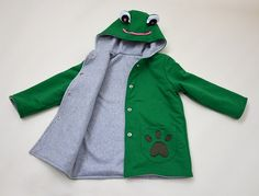 Hoodies – Green Frog Hoodie Coat. Boys and Girls. – a unique product by Loutik on DaWanda