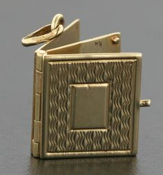 Vintage Book Charm that Opens, Ready to Engrave in 14k Gold..