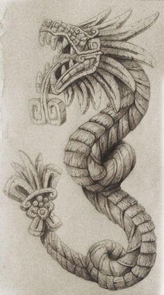 Quetzalcoatl Tattoo by cgbandit on DeviantArt Simbols Tattoo, Tattoo Snake, Tattoo Drawings, Body Art Tattoos, Sleeve Tattoos, Art Drawings, Tattoo Sketches, Mayan Tattoos, Mexican Art Tattoos