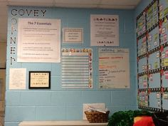 """SSE """"Covey Corner"""" is in every classroom. It includes the classroom goal, class and school mission, the """"7-Essentials"""", school-wide goal and data tracking."""