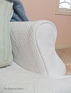 Custom chaise slipcover made with a re-purposed matelasse bedspread and cotton duck from Big Duck Canvas.
