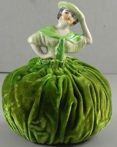 Pin Cushion Half Doll Green Velvet Vintage Antique