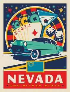 Anderson Design Group – American State Pride – Nevada State Pride Anderson Design Group – American S Poster Retro, Poster Art, Vintage Travel Posters, Vintage Postcards, Gig Poster, Party Vintage, Retro Vintage, Poster Festival, Nevada State