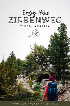 """The Stone Pine Path (""""Zirbenweg"""" in German) is a blissfully easy walking path in the Tux Alps, high above the Inntal Valley in Tirol, Austria. Lined by Europe's largest and oldest stone pine trees (Zirben), this undulating forest trail invites you to breathe deeply, slow down, and contemplate your next Zirbenschnaps. #innsbruck #tirol #tyrol #austria #hiking #easyhike #innsbruckhiking #hallintirol #austriahiking #austriatravel #visitaustria Visit Austria, Austria Travel, Tirol Austria, Hiking Europe, Forest Trail, Walking Paths, Innsbruck, Best Hikes, Hiking Trails"""