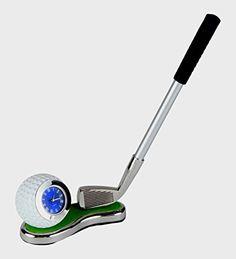 Desktop Golf Club Pen Holder with Golf Ball Clock on the Green, 3-piece Golfer Gift Set