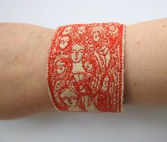 dreamers in red cuff or bracelet original by cathycullis on Etsy