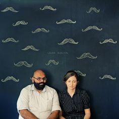 Jen and Vinod #chalk #mustache #couple #engagement
