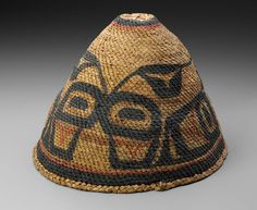 Native American (Nuu-chah-nulth) ab | Vancouver Island (West coast), British Columbia, Canada | Basketry hat | 1900–10 | Red cedar bark and pigment | 19.1cm (7 1/2in.) 26.7cm (10 1/2in.)