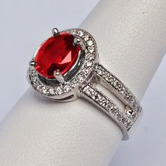 Beautiful double band of diamond and ruby ring   my birth stone .