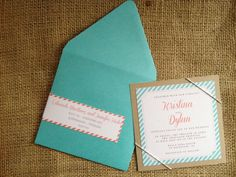 Wedding Invitation Stripes Tiffany Blue Aqua Coral Blush Simple Contemporary Elegant Bakers Twine Indie Shabby Chic Country Boho Preppy by mailepaperie on Etsy https://www.etsy.com/listing/124481143/wedding-invitation-stripes-tiffany-blue