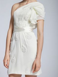 Beaded Georgette Dress; Color: Creamy White; Sizes Available: 2-26W, Custom Size; Fabric: Chiffon