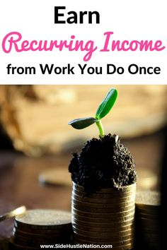 Gift yourself with recurring income from work you do only once. By investing your hard earned money into dividend growth plans your money will earn you more money. Excellent passive income strategy, great tips for getting started. #recurringincome #workoncepaidongoing #sidehustlesuccess