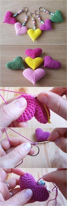 Crochet Heart Keyrin