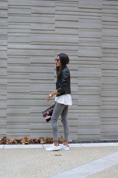 sporty chic, leather jacket paired with grey skinnies and stan smith addidas tennis shoe.