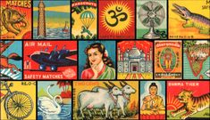 """From the book """"Light of India, A Conflagration of Indian Matchbox Art"""" a dazzling collection of more than 300 vintage matchbox labels from India, dating from the turn of the century through the 1950s."""