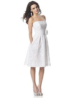 Strapless cocktail length heirloom lace wedding dress with inset waistband and handworked flower at natural waist. $410.00