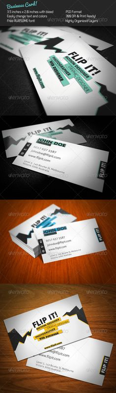 FLIP IT! Business Card — Photoshop PSD #flip it #lightning • Available here → https://graphicriver.net/item/flip-it-business-card/241162?ref=pxcr