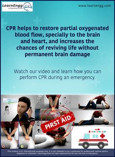 CPR helps to restore partial oxygenated blood flow, specially to the brain and heart, and increases the chances of reviving life without permanent brain damage. Watch our video and learn how you can perform CPR during an emergency: [Click on the image] #learnengg #cpr #firstaid