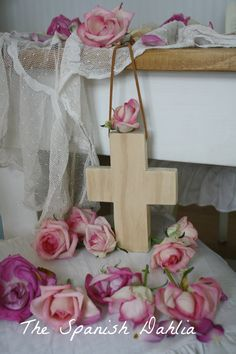 My Gorgeous Wooden Rosary And My Wonderful Trip To Rachel Ashwell Shabby Chic Couture! Shabby Chic Couture, Very Lovely, Beautiful, Crosses Decor, Dahlia, Decorative Crosses, Spanish, Blossoms, Roses