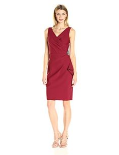 Alex Evenings Womens Short Side Ruched Dress with Cascade Ruffle Skirt Cranberry 10 >>> Visit the image link more details. (Note:Amazon affiliate link)