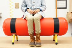 Emergency bench (Jamie Wolfond, 2014): a bench that can be inflated, with a provided portable air pump in case of a seating emergency, and can be easily deflated for carrying.