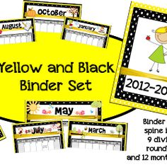 Binder Set in Yellow/Black, and some news!