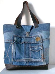 sac cabas en jean recyclé /collections : les poches /SOLEIL : Sacs à main par yza-dora