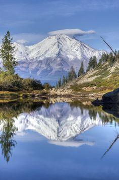 Mount Shasta reflected in Heart Lake. Northern California.