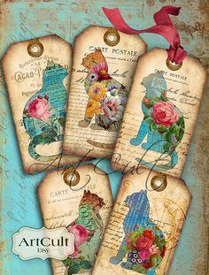 Vintage Gift Tags GTS4 junk journals ephemera set of 12 gifting; hang tags GROUP B Handmade Paper scrapbooking