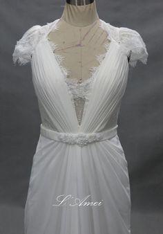 Lace Open Back Bohemian Beach Wedding Dress with Sash by LAmei