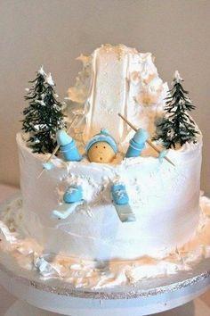 cake decoration ideas, cake, christmas cake decorating ideas Sledding instead of skiing Christmas Cake Designs, Christmas Cake Decorations, Holiday Cakes, Crazy Cakes, Christmas Baking, Christmas Treats, Christmas Cakes, Xmas Cakes, Funny Christmas