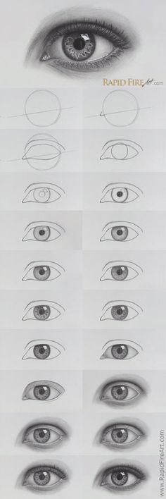 How to draw realistic EYES - Zeichnung bleistift - Art Sketches Eye Drawing Tutorials, Watercolour Tutorials, Drawing Techniques, Art Tutorials, Watercolor Techniques, Cool Art Drawings, Pencil Art Drawings, Art Drawings Sketches, Sketches Of Eyes