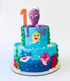 Baby Cakes, Baby Shower Cakes, Shark Birthday Cakes, 2nd Birthday, Shark Cake, Fondant Tutorial, Baby Shark, Creative Cakes, Confectionery