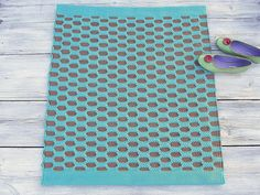 Turquoise and brown small size handmade cotton rug woven by leedas