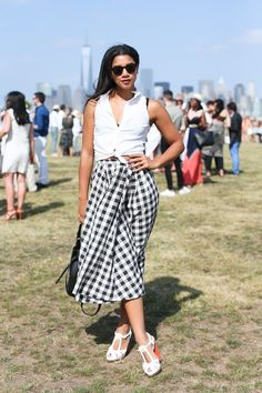 7 Events, 18 Weekend Outfit Ideas #refinery29  http://www.refinery29.com/new-york-city-party-style#slide-4  DJ Hannah Bronfman goes gingham and breezy.